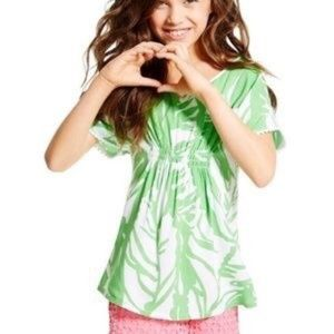 LILLY PULITZER Boom Boom Green Smocked Top